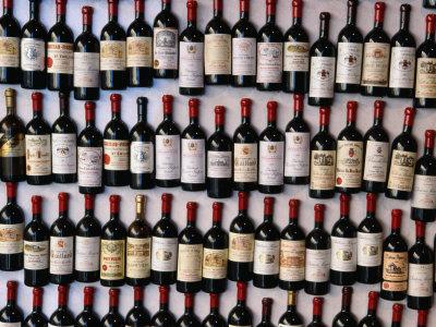 Fridge Magnet Wine Bottles., St. Emilion, Aquitaine, France Photographic Print by Greg Elms