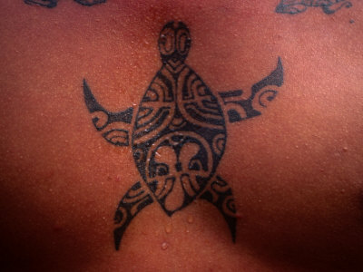 Tattoo of Turtle, French Polynesia Photographic Print