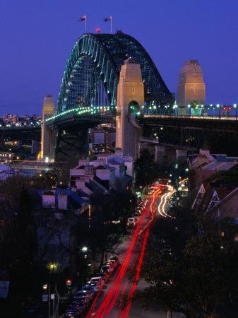 Miller's Point and the Harbour Bridge at Dusk, Sydney, Australia Photographic Print by Greg Elms