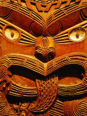 Historic Maori Carving in Otago Museum, Dunedin, Otago, New Zealand Photographic Print by David Wall