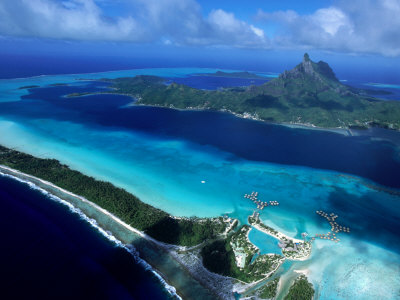 Aerial View of Island, French Polynesia Photographic Print
