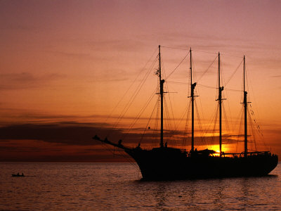 Tall Ship at Anchor South of Rouseau, West Coast, Roseau, Dominica Photographic Print by Michael Lawrence