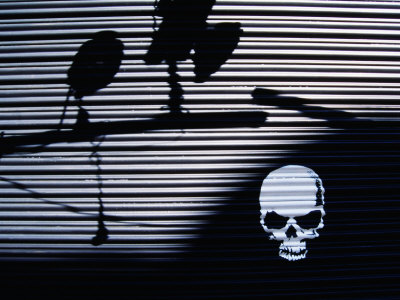 Graffiti and Shadows of Street Lamps on Garage Shutter Door, Tokyo, Japan Photographie