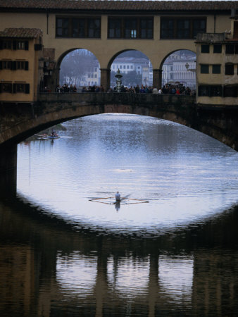 Rower on Arno River Passing Beneath Ponte Vecchio, Florence, Tuscany, Italy Photographic Print by Doug McKinlay