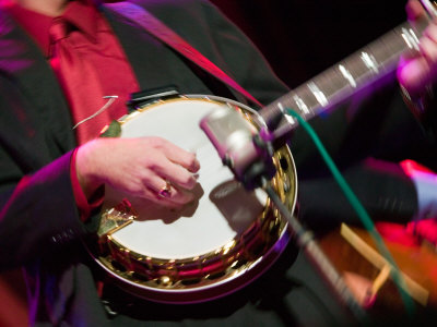 Banjo Player Detail, Grand Ole Opry at Ryman Auditorium, Nashville, Tennessee, USA Photographic Print by Walter Bibikow