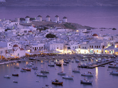 Overview of Mykonos Town harbor, Mykonos, Cyclades Islands, Greece Photographie