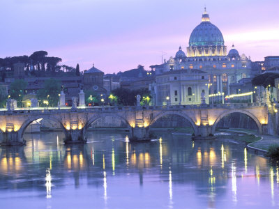 St. Peter's and Ponte Sant Angelo, The Vatican, Rome, Italy 写真プリント : ウォルター・ビビコウ