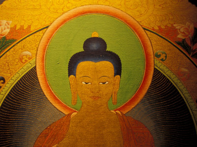Buddha on a Thanka Painting, Tibet Photographic Print by Vassi Koutsaftis