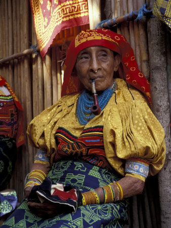 Old Woman with Pipe in Hand-Stitched Molas, Kuna Indian, San Blas Islands, Panama Photographic Print by Cindy Miller Hopkins