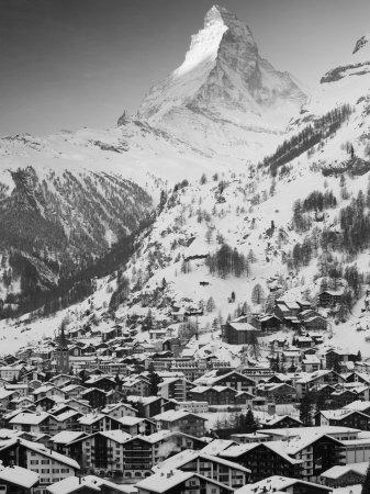 Morning Town View with Matterhorn, Zermatt, Valais, Wallis, Switzerland Photographic Print by Walter Bibikow