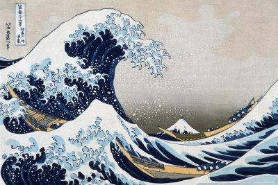 A Grande Onda em Kanagawa, da série 36 vistas do Mount Fuji, cerca de 1829 Pôster