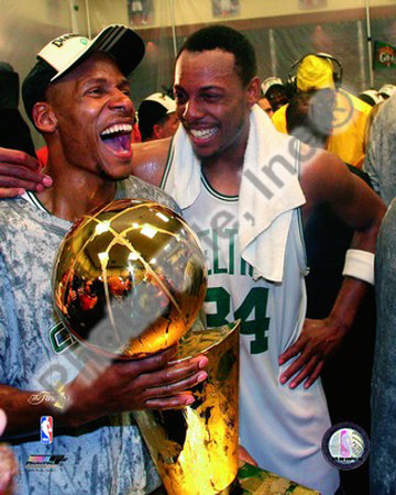 Ray Allen & Paul Pierce, Game Six of the 2008 NBA Finals With Trophy Photo