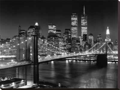 New York, New York, Brooklyn Bridge Stretched Canvas Print by Henri Silberman