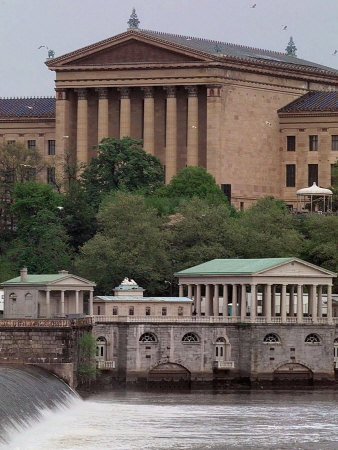 The Philadelphia Museum of Art Looms Above the Fairmount Water Works Photographic Print