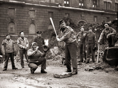 15 American Soldiers Playing Baseball Amid the Ruins of Liverpool, England 1943 Photographic Print