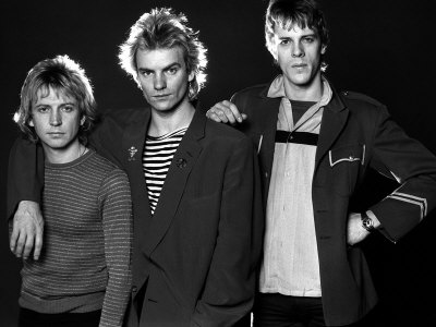 Pop Group the Police in Studio, Sting with Andy Summers and Stewart Copeland, 1980 Fotografie-Druck