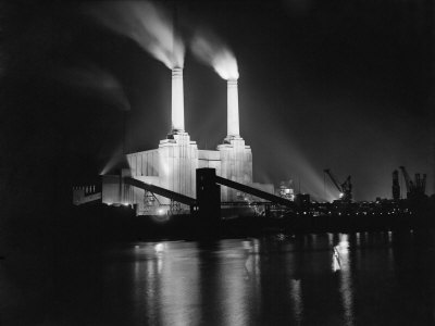 Battersea Power Station Lit up at Night, 1951 Photographic Print