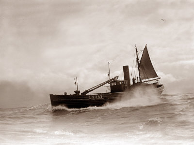 A Lowestoft Herring Boat Ploughing Through a Moderate Swell in the North Sea, 1935 Photographic Print
