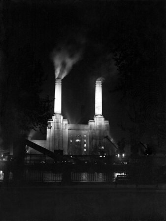 Battersea Power Station Floodlit at Night, 1951 Photographic Print