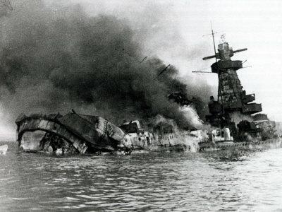German Pocket Battleship Graf Spee Sinking Following Battle of River Plate in Uruguay, WW2, 1940 Photographic Print