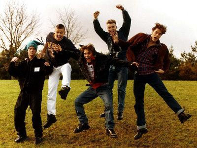 Take That Members are Robbie Williams Jason Orange Gary Barlow Mark Owen and Howard Donald Photographic Print