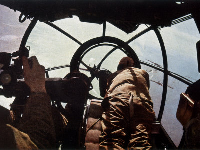 German Machine-Gunner in the Cockpit of a Bomber, Probably a Heinkel He-111 Photographic Print by Unsere Wehrmacht