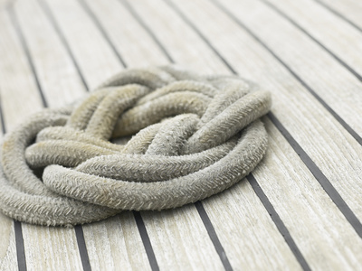 Knot of Rope on Wooden Boat Deck Photographic Print