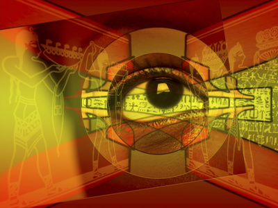 A Human Eye Superimposed on Hieroglyphics Fotografisk tryk