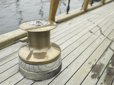 Brass Boat Moor on Wooden Pier Photographic Print