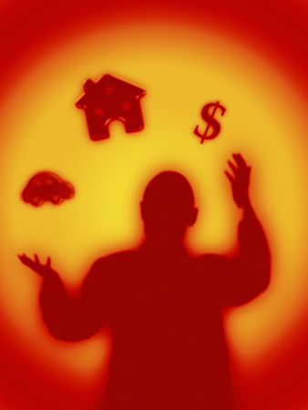 Man Juggling House, Money, Car Photographic Print