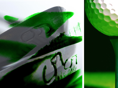 Close-up of Golf Club Irons and Golf Ball on Tee Photographic Print