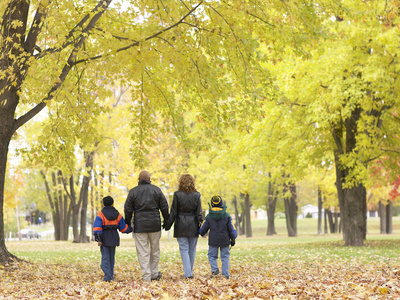 Family Walking in the Park Photographic Print