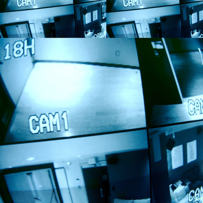 Split Screen of Security Camera Images Photographic Print
