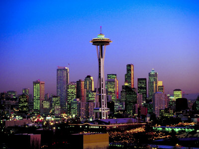 Skyline of Seattle at Dusk Photographic Print
