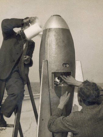 German Rocket Experiments on a Windswept Spit of Land, Filling the Device with Its Chemical Fuel Photographic Print