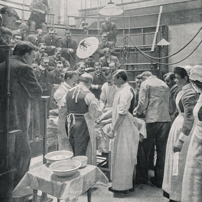 An Operation at Charing Cross Hospital London Watched by Students and Colleagues Photographic Print