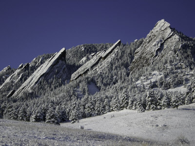 Winterscene of the Flatirons in Boulder, Colorado Premium Poster