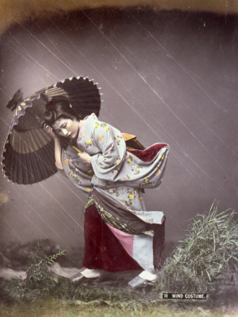 Full-Length Portrait in Studio of a Young Japanese Girl in a Traditional Costume Worn on Windy Days Photographic Print