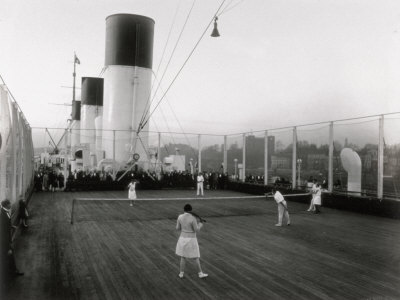 Tennis Match Played on the Games Deck of the German Transatlantic Liner 'Cap Arcona' Photographic Print
