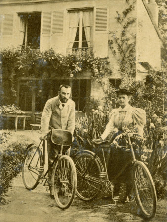 Marie and Pierre Curie the Two Scientists Set out on a Sunday Afternoon Cycle Ride Photographic Print