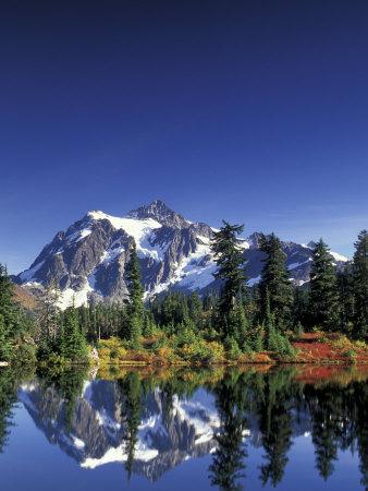 Mount Shuksan at Picture Lake, Heather Meadows, Washington, USA Photographic Print by Jamie & Judy Wild
