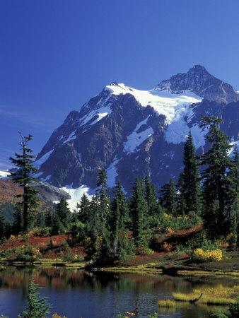 Mount Shuksan and Picture Lake, Heather Meadows, Washington, USA Photographic Print by Jamie & Judy Wild