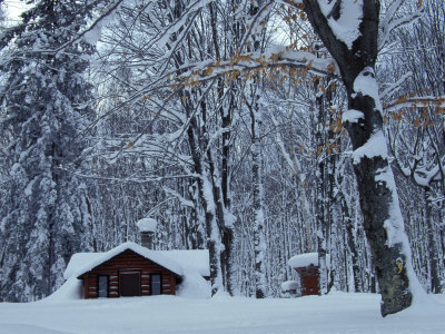 Log Cabin in Snowy Woods, Chippewa County, Michigan, USA Photographic Print
