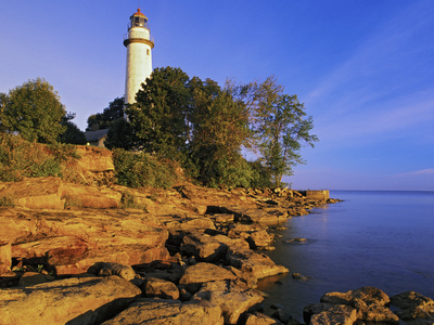 Pointe Aux Barques Lighthouse at Sunrise on Lake Huron, Michigan, USA Photographic Print by Adam Jones