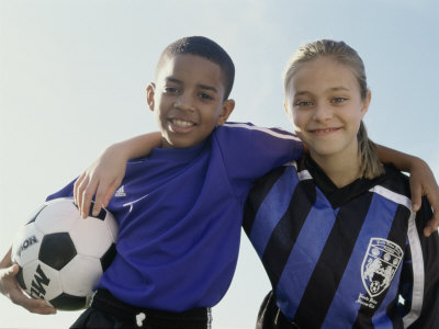 Portrait of a Boy And Girl From a Soccer Team Photographic Print