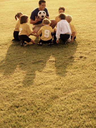 Coach with Youth Soccer Players Photographic Print