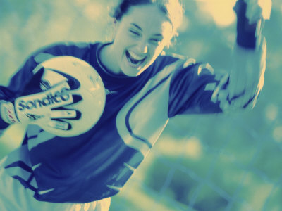 Female Goalie Holding a Soccer Ball Photographic Print