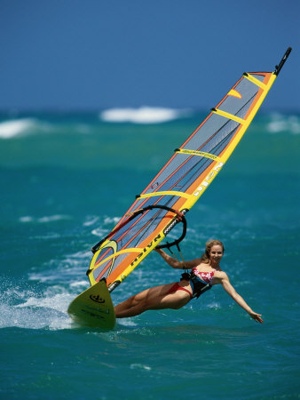 Portrait of a Young Woman Windsurfing Photographic Print