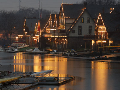 A Portion of Philadelphia's Boathouse Row is Shown at Dusk Thursday Photographic Print