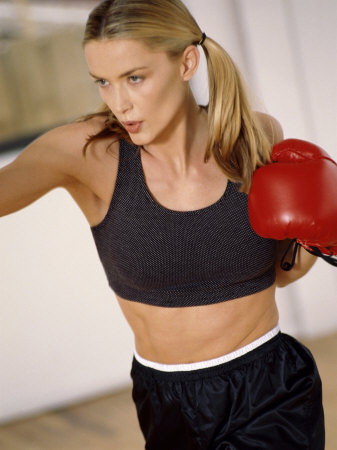 Blond in Boxing Gloves Photographic Print
